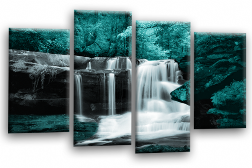 Forest Waterfall Canvas Wall Art Picture Print Teal Black Grey